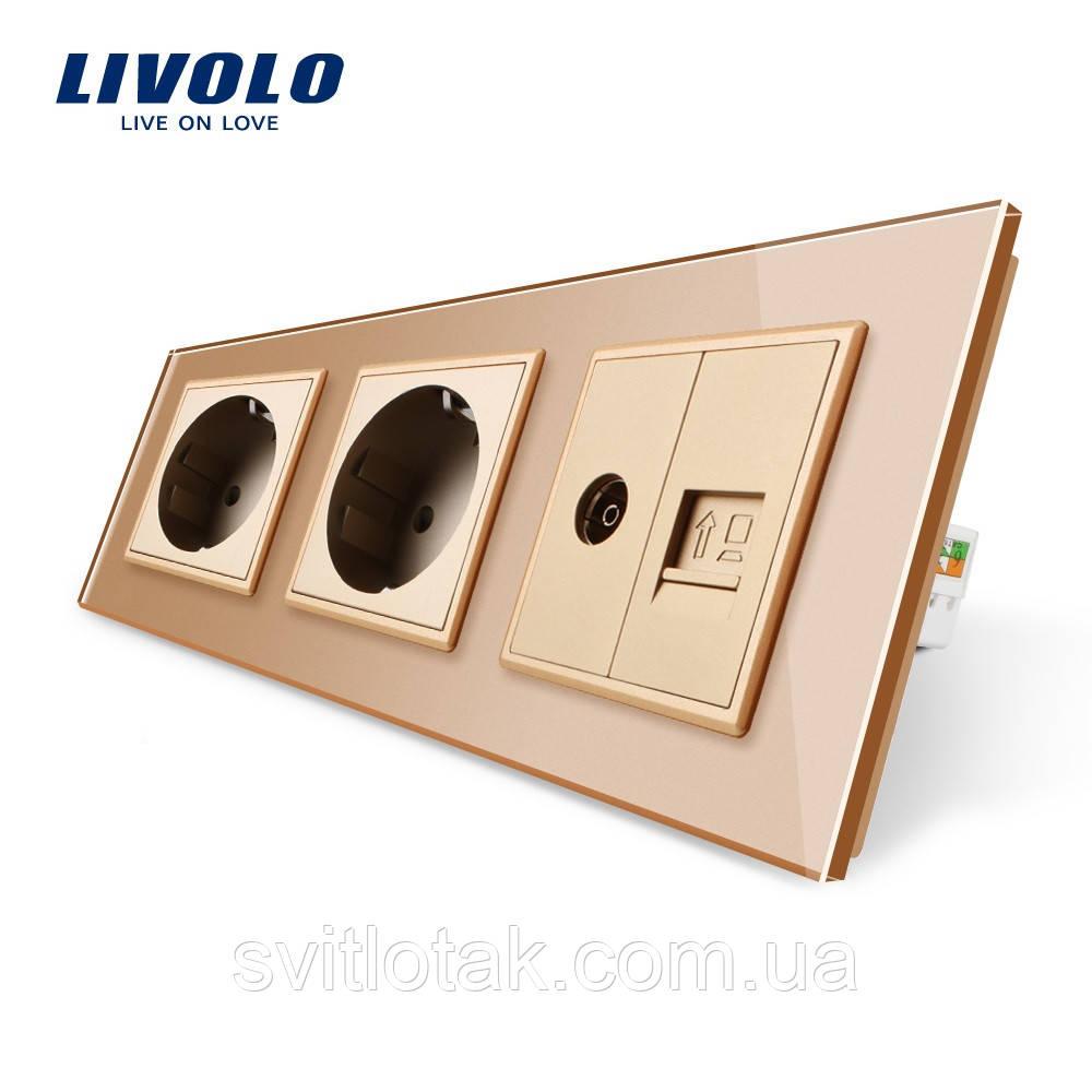 Розетка трехместная комбинированная Силовая Интернет ТВ Livolo золото стекло (VL-C7C2EU1C1V-13)