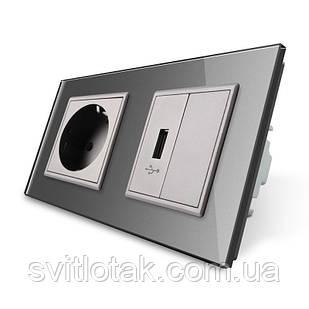 Розетка с заземлением и розетки USB Livolo серый стекло (VL-C7C1EUUSBK0-15)