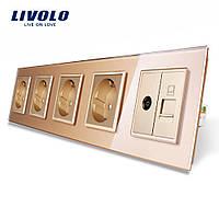 Розетка пятиместная комбинированная Силовая Интернет ТВ Livolo золото стекло (VL-C7C4EU1C1V-13)