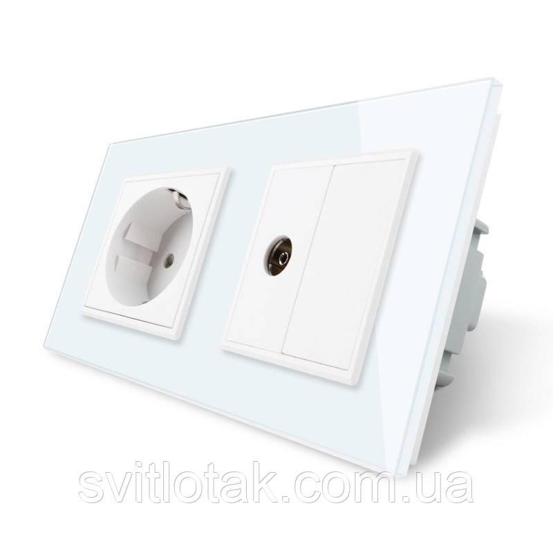Розетка двухместная комбинированная Силовая ТВ Livolo белый стекло (VL-C7C1EU1VK0-11)