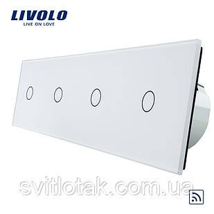 Сенсорный радиоуправляемый выключатель Livolo 4 канала (1-1-1-1) белый стекло (VL-C704R-11)
