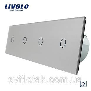 Сенсорный радиоуправляемый выключатель Livolo 4 канала (1-1-1-1) серый стекло (VL-C704R-15)