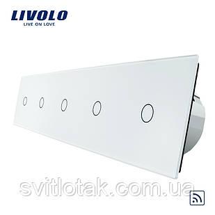 Сенсорный радиоуправляемый выключатель Livolo 5 канала (1-1-1-1-1) белый стекло (VL-C705R-11)