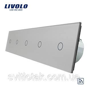 Сенсорный радиоуправляемый выключатель Livolo 5 канала (1-1-1-1-1) серый стекло (VL-C705R-15)
