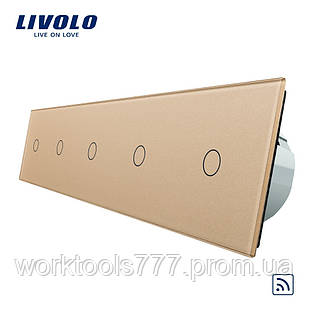 Сенсорный радиоуправляемый выключатель Livolo 5 канала (1-1-1-1-1) золото стекло (VL-C705R-13)