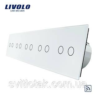Сенсорный радиоуправляемый выключатель Livolo 10 канала (2-2-2-2-2) белый стекло (VL-C710R-11)