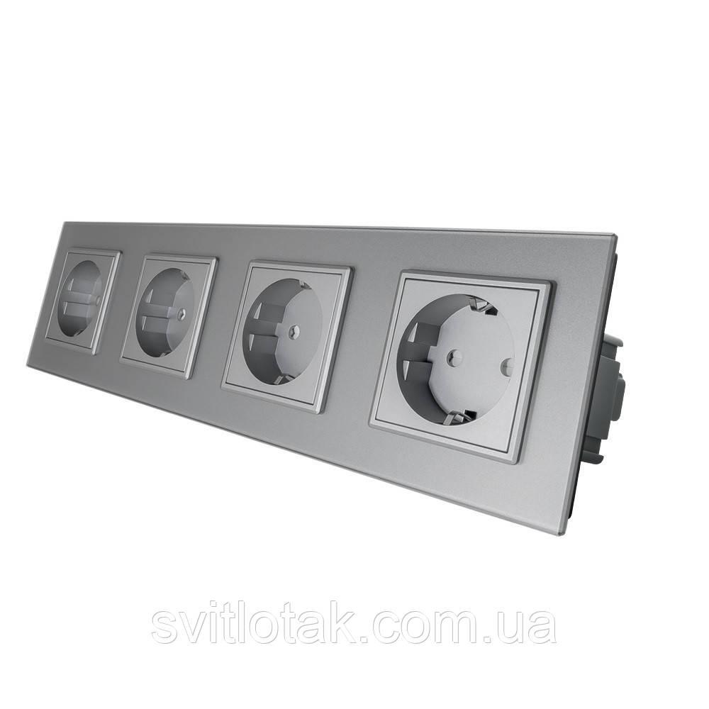 Розетка четырехместная с заземлением Livolo 16А серый стекло (VL-C7C4EU-15)