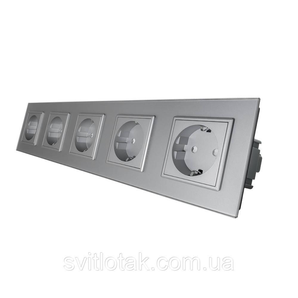 Розетка пятиместная с заземлением Livolo 16А серый стекло (VL-C7C5EU-15)