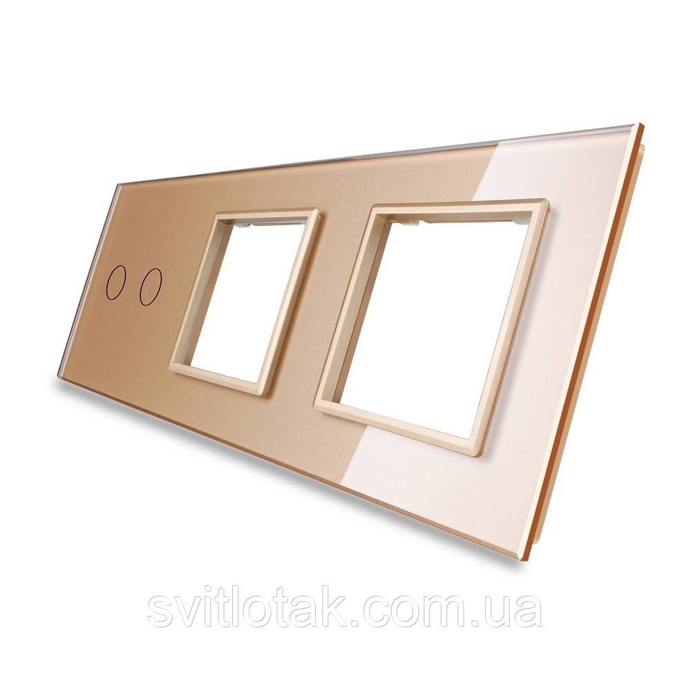 Сенсорная панель выключателя Livolo 2 канала и двух розеток (2-0-0) золото стекло (VL-C7-C2/SR/SR-13)