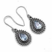 Серебряные серьги с голубым топазом, 433СРТ