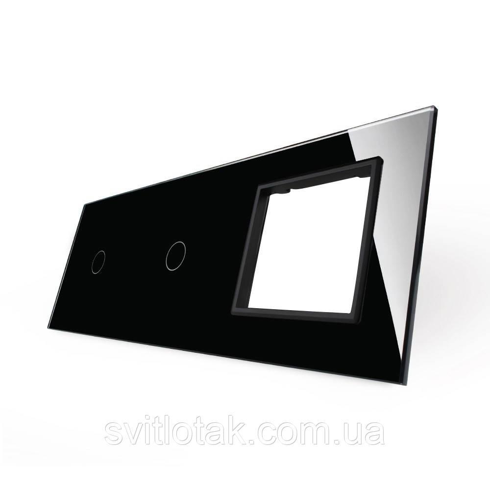 Сенсорная панель выключателя Livolo 2 канала и розетку (1-1-0) черный стекло (VL-C7-C1/C1/SR-12)