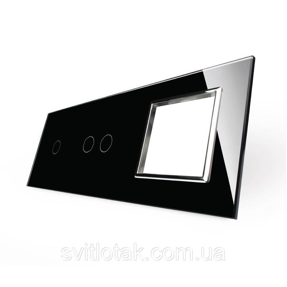 Лицьова панель для двох сенсорних вимикачів і розеток Livolo, чорний, скло (VL-C7-C1/C2/SR-12-chrome)