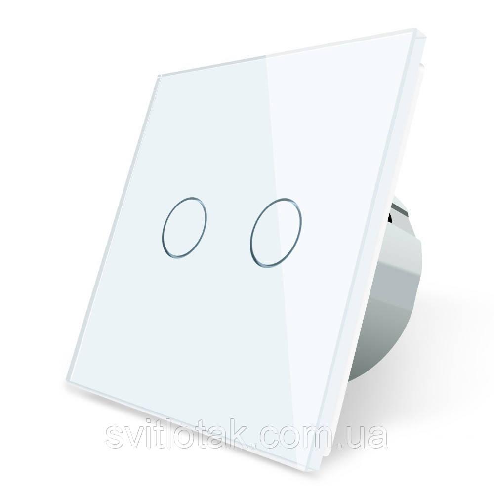 Сенсорный выключатель Livolo Сухой контакт 2 канала белый стекло (VL-C702I-11)