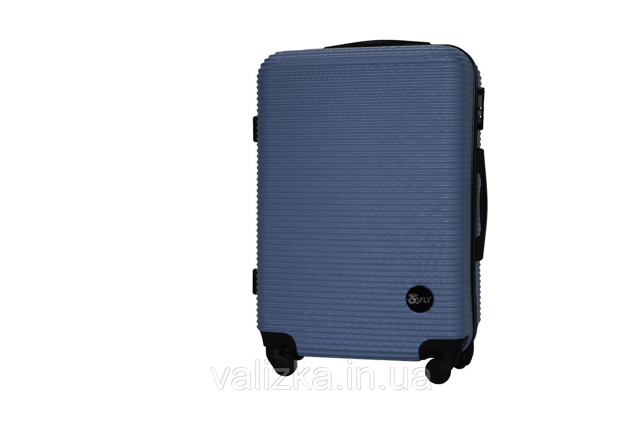 Средний пластиковый чемодан на 4-х колесах синий Fly