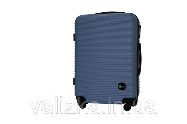 Средний пластиковый чемодан на 4-х колесах синий Fly , фото 2