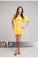 Стильное летнее платье с вышивкой желтого цвета, фото 1
