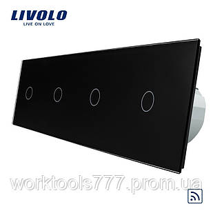 Сенсорный радиоуправляемый выключатель Livolo 4 канала (1-1-1-1) черный стекло (VL-C704R-12)