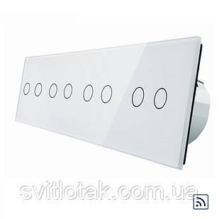 Сенсорный радиоуправляемый выключатель Livolo 8 канала (2-2-2-2) белый стекло (VL-C708R-11)