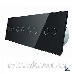 Сенсорный радиоуправляемый выключатель Livolo 8 канала (2-2-2-2) черный стекло (VL-C708R-12)