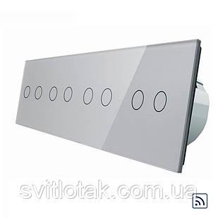 Сенсорный радиоуправляемый выключатель Livolo 8 канала (2-2-2-2) серый стекло (VL-C708R-15)