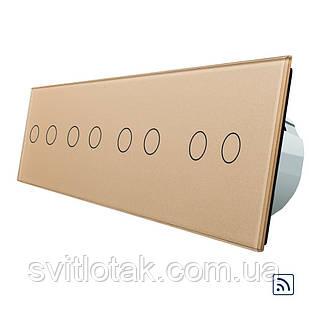 Сенсорный радиоуправляемый выключатель Livolo 8 канала (2-2-2-2) золото стекло (VL-C708R-13)