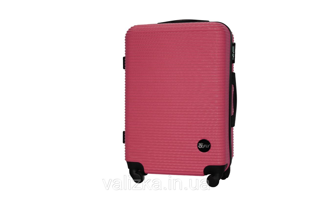 Средний пластиковый чемодан на 4-х колесах бордовый Fly