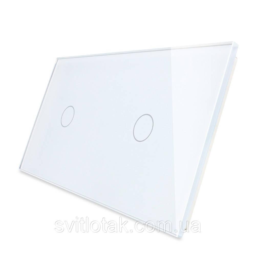 Сенсорная панель выключателя Livolo 2 канала (1-1) белый стекло (VL-C7-C1/C1-11)