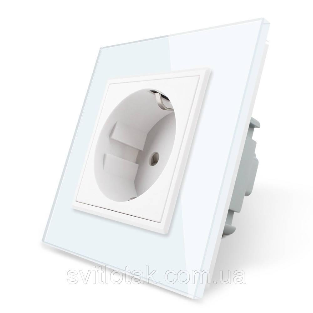 Розетка с заземлением Livolo 16А белый стекло (VL-C7C1EU-11)