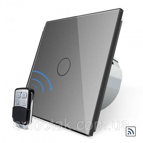 Сенсорный радиоуправляемый выключатель Livolo серый стекло + пульт-брелок (VL-C701R-15/VL-RMT-02)