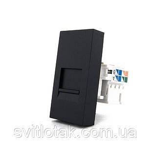 Механизм розетка интернет RJ-45 Cat 6 Livolo черный (VL-C7-1C-12)