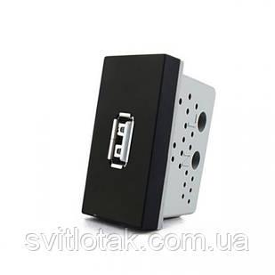Механизм розетка USB Livolo с блоком питания 2.1А, 5V черный (VL-C7-1USB-12)