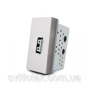 Механизм розетка USB Livolo с блоком питания 2.1А, 5V серый (VL-C7-1USB-15)