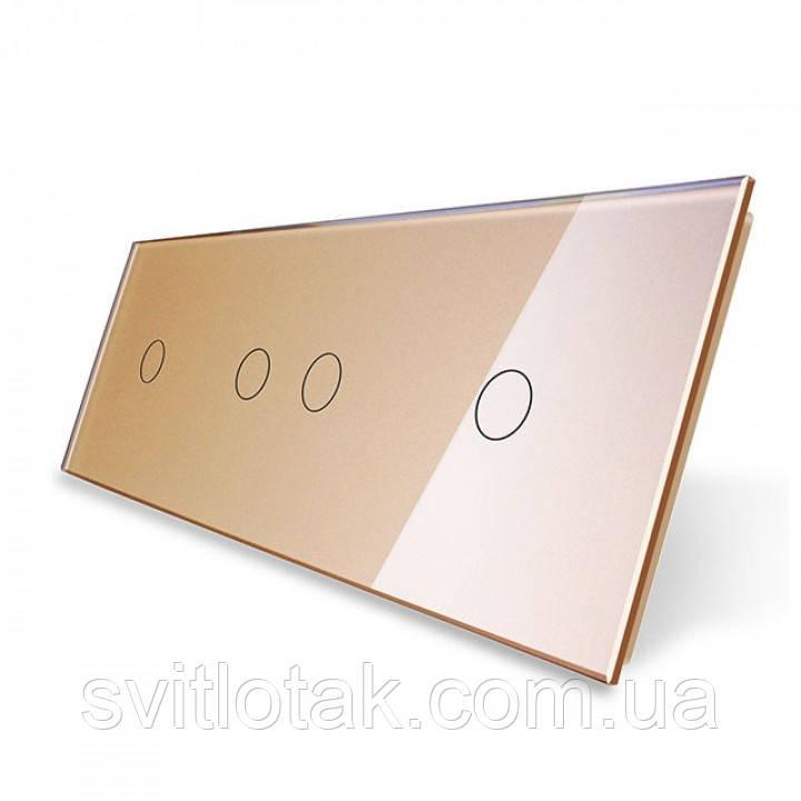 Сенсорная панель выключателя Livolo 4 канала (1-2-1) золото стекло (VL-C7-C1/C2/C1-13)