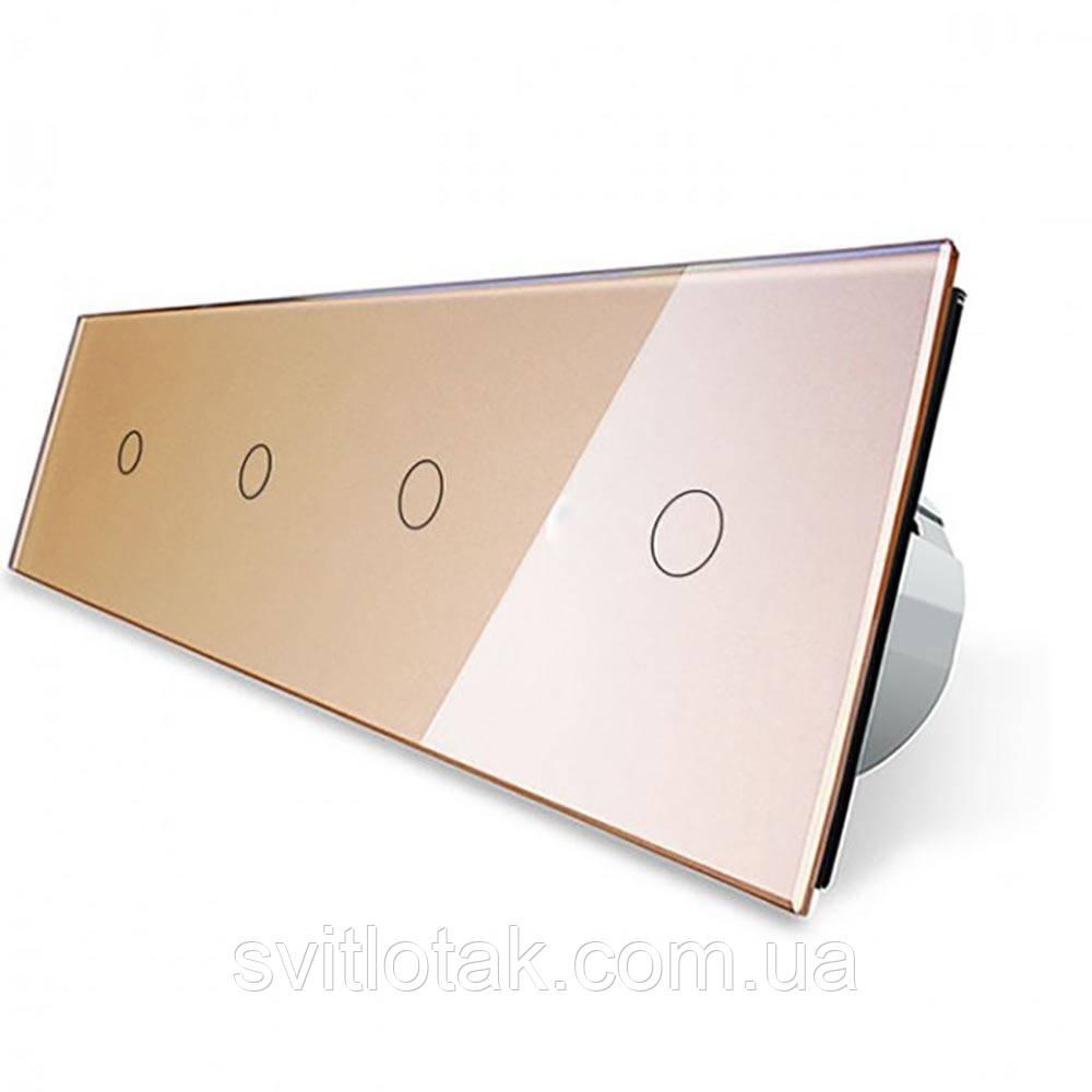 Сенсорный выключатель Livolo 4 канала (1-1-1-1) золото стекло (VL-C704-13)