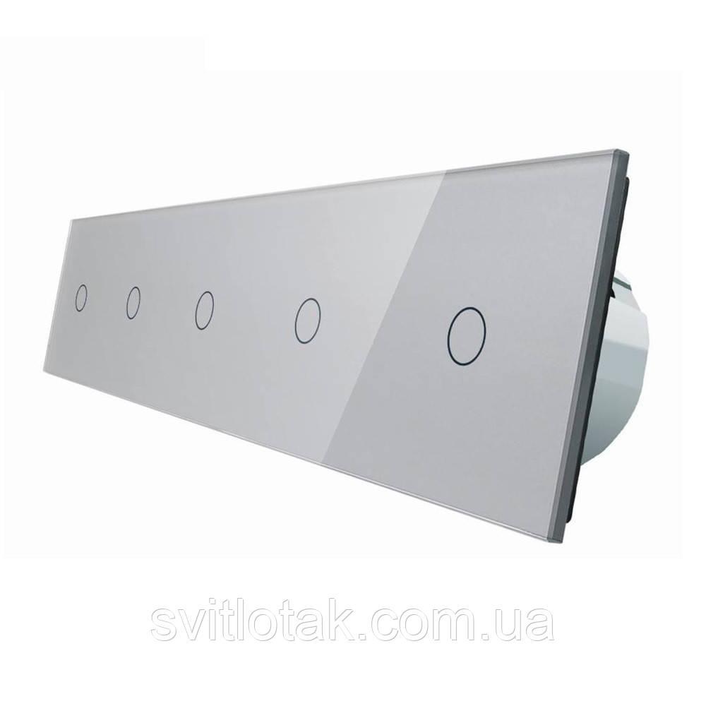 Сенсорный выключатель Livolo 5 каналов (1-1-1-1-1) серый стекло (VL-C705-15)
