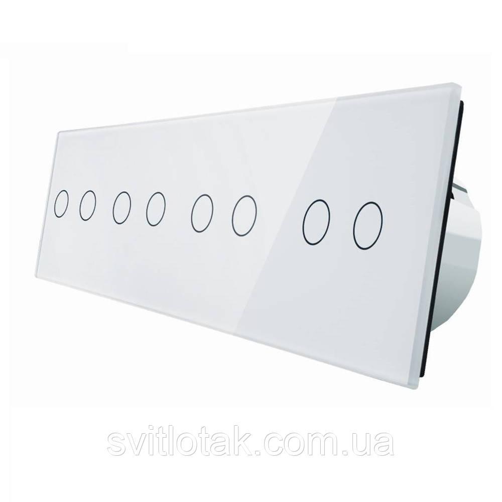 Сенсорний вимикач Livolo 8 каналів (2-2-2-2) білий скло (VL-C708-11)