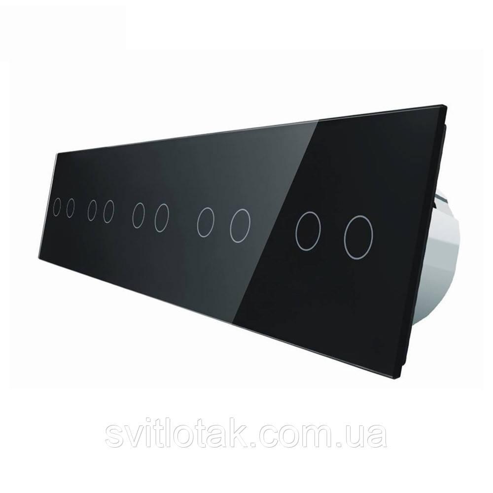 Сенсорний вимикач Livolo 10 каналів (2-2-2-2-2) чорний скло (VL-C710-12)