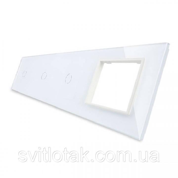 Сенсорная панель выключателя Livolo 3 канала и розетку (1-1-1-0) белый стекло (VL-C7-C1/C1/C1/SR-11)