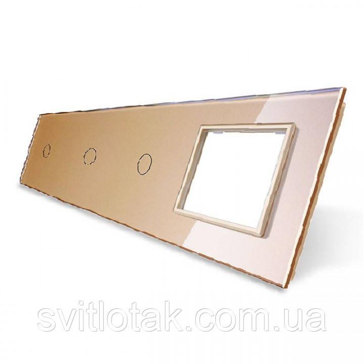 Сенсорная панель выключателя Livolo 3 канала и розетку (1-1-1-0) золото стекло (VL-C7-C1/C1/C1/SR-13)