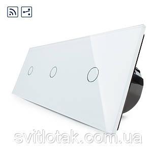 Сенсорный радиоуправляемый проходной выключатель Livolo 3 канала (1-1-1) белый стекло (VL-C703SR-11)