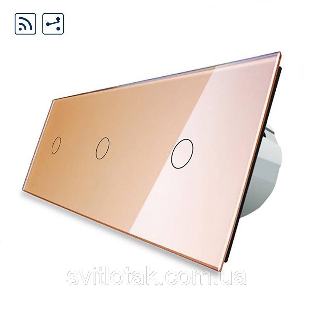 Сенсорный радиоуправляемый проходной выключатель Livolo 3 канала (1-1-1) золото стекло (VL-C703SR-13)
