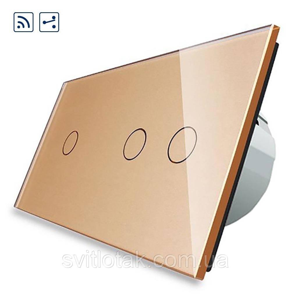 Сенсорный радиоуправляемый проходной выключатель Livolo 3 канала (1-2) золото стекло (VL-C701SR/C702SR-13)