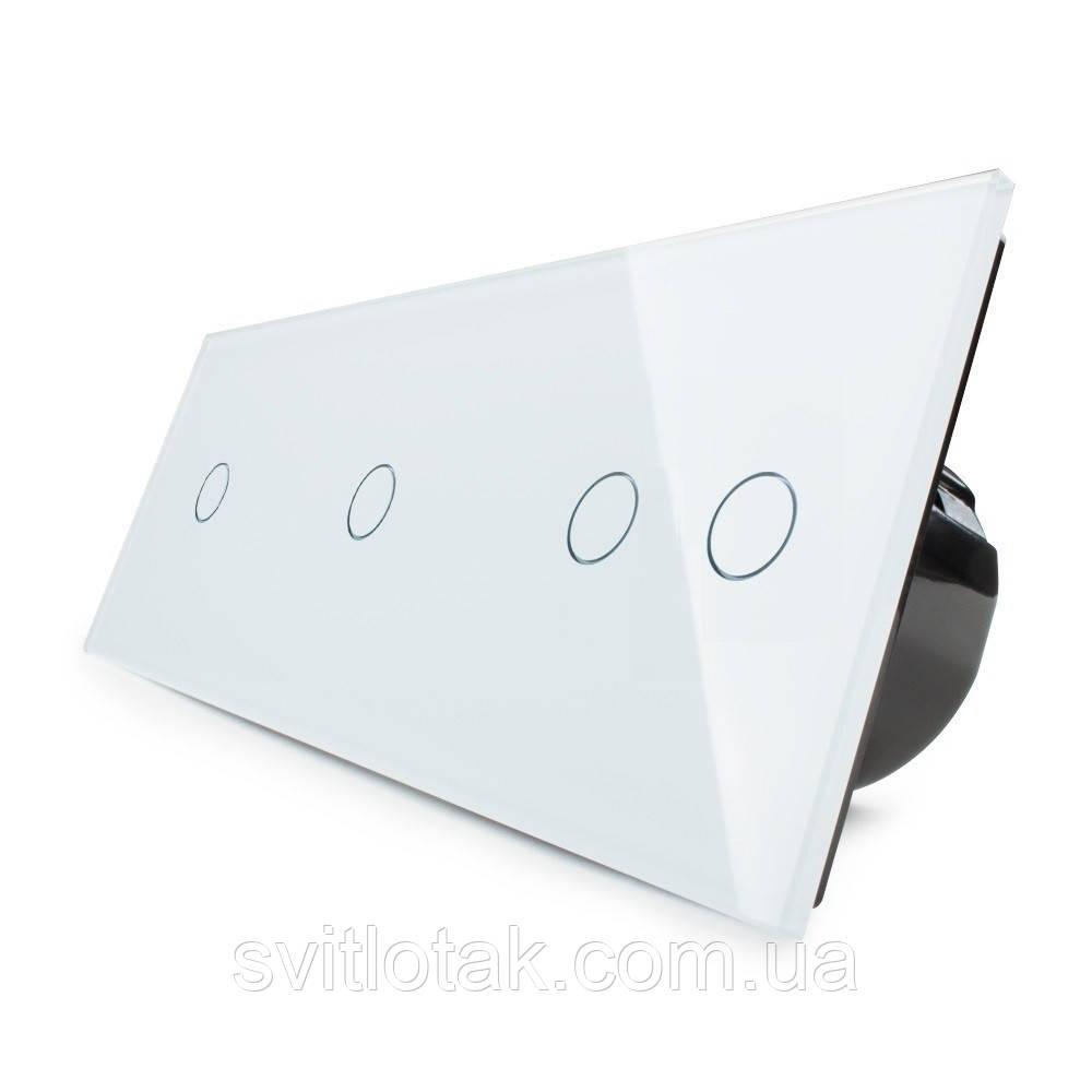 Сенсорний вимикач Livolo 4 канали (1-1-2) білий скло (VL-C701/C701/C702-11)