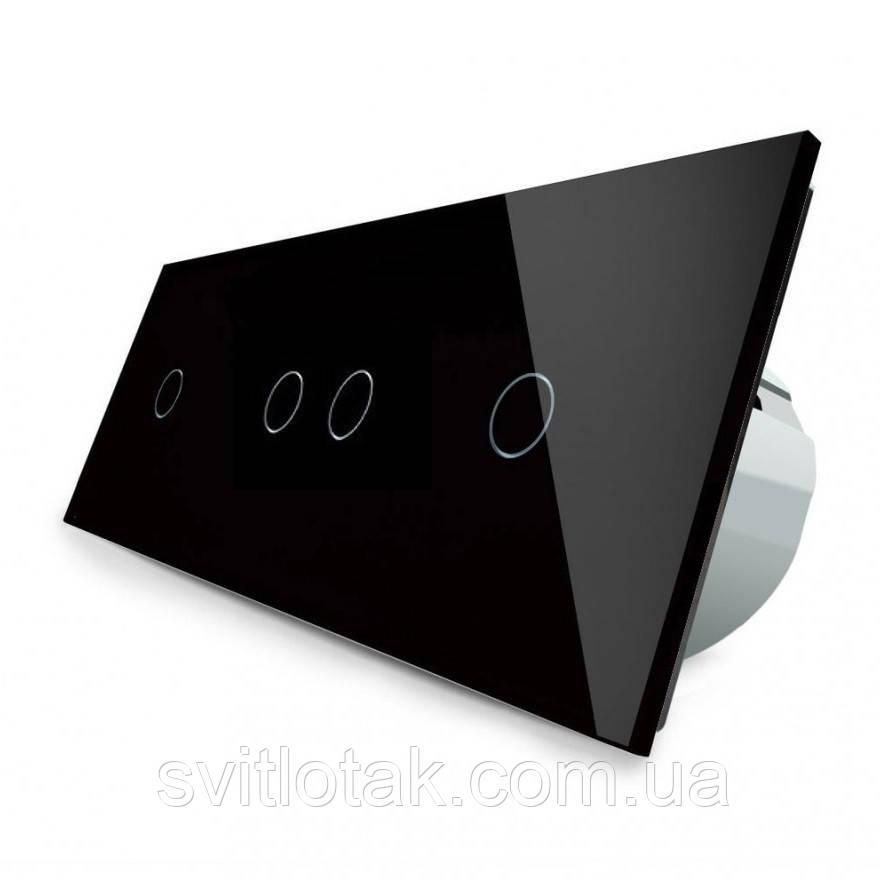 Сенсорний вимикач Livolo 4 канали (1-2-1) чорний скло (VL-C701/C702/C701-12)