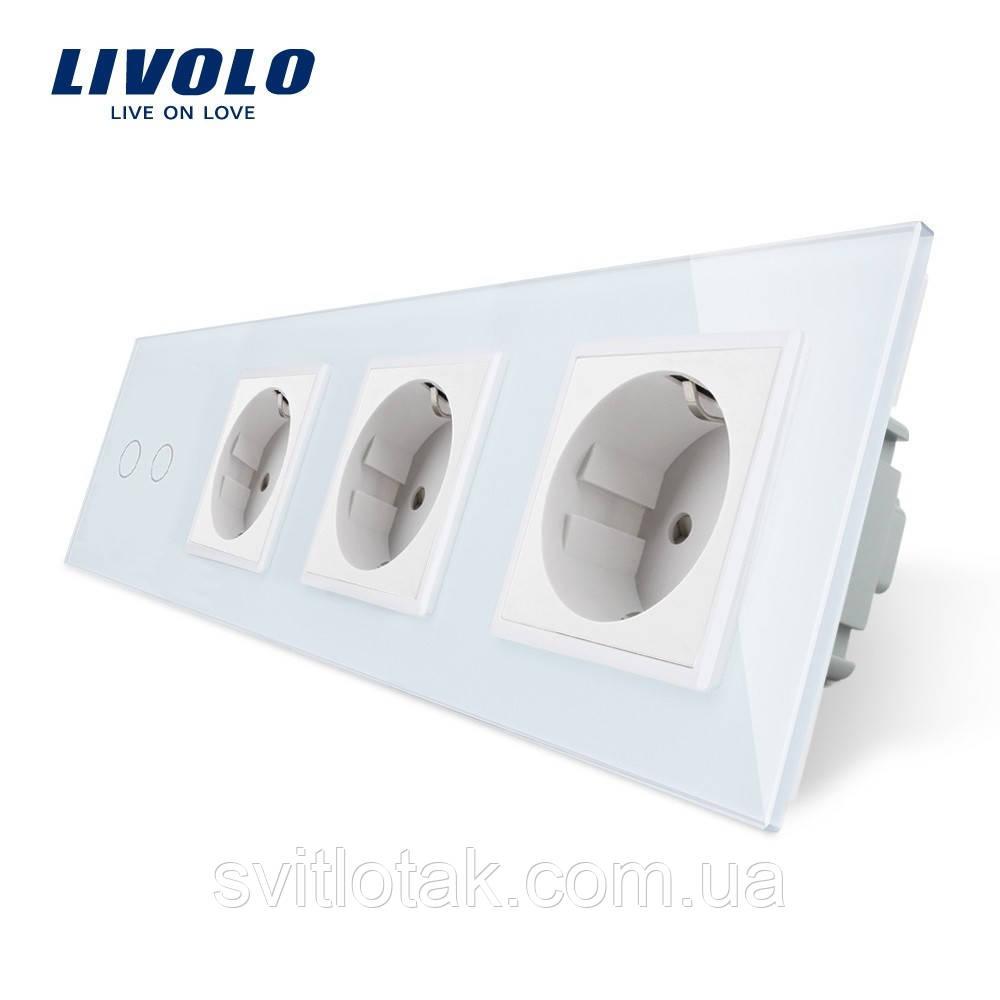 Сенсорный выключатель Livolo 2 канала 3 розетки белый стекло (VL-C702/C7C3EU-11)