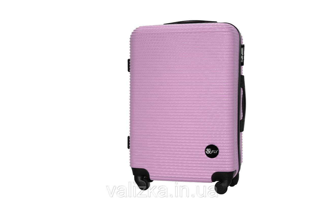 Средний пластиковый чемодан на 4-х колесах светло-розовый Fly