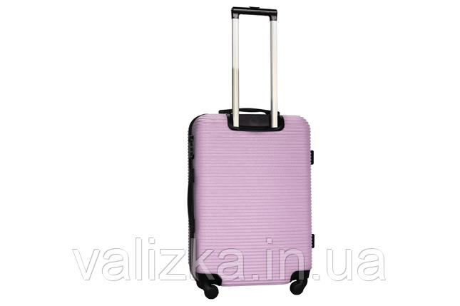 Средний пластиковый чемодан на 4-х колесах светло-розовый Fly , фото 2