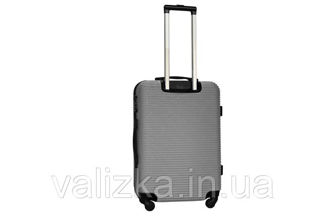 Средний пластиковый чемодан на 4-х колесах серебро Fly , фото 2