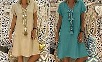 Платье женское свободного кроя лен 40 42 44 46 48 50 52 54 56 58 60 Разные цвета