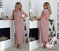 Длинное батальное летнее платье с принтами. 4 цвета!, фото 1